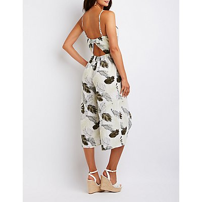 Palm Print Open Back Jumpsuit