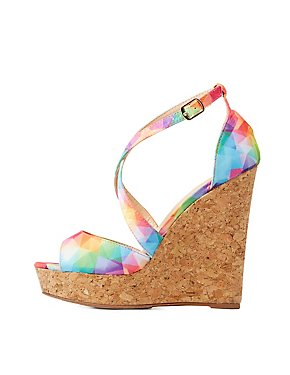 Strappy Cork Wedge Sandals