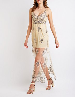 Floral Embroidered Lace Maxi Dress