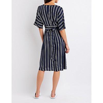 Striped Button Up Shirt Dress