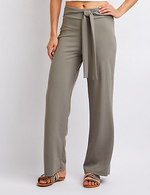 Tie Front Palazzo Pants | Charlotte Russe