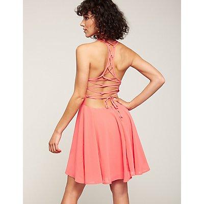 Lace Up Back Skater Dress