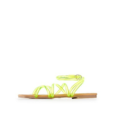 Qupid Neon Ankle Strap Flat Sandals
