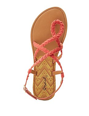Qupid Braided Strappy Flat Sandals