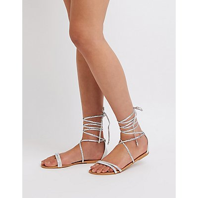 Qupid Lace Up Flat Sandals