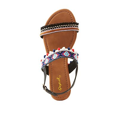 Qupid Embellished Flat Sandals