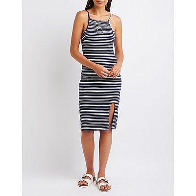 Striped Bib Neck Bodycon Dress