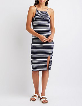 Striped Bib Neck Bodycon Dress