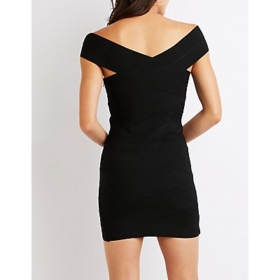Off The Shoulder Bandage Bodycon Dress