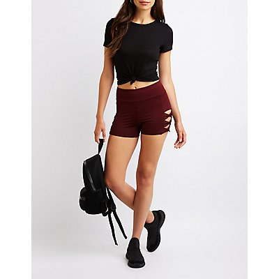 Cut Out Athletic Shorts