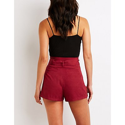 High Waist Tie Front Shorts
