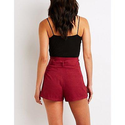 High Waist Tie Front Shorts