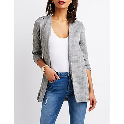 Plaid Open Front Blazer