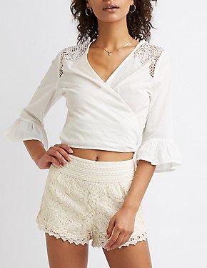 d2a319de3caa3 Striped Off The Shoulder Top · Floral Lace Shorts