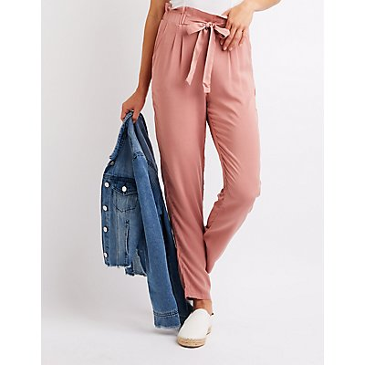 Tie Front Paperbag Trousers