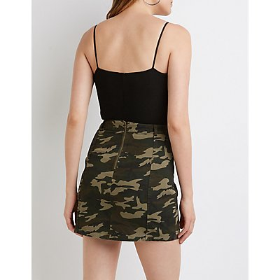 Camo Lace-Up Skirt