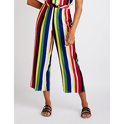 Rainbow Striped Culotte Pants