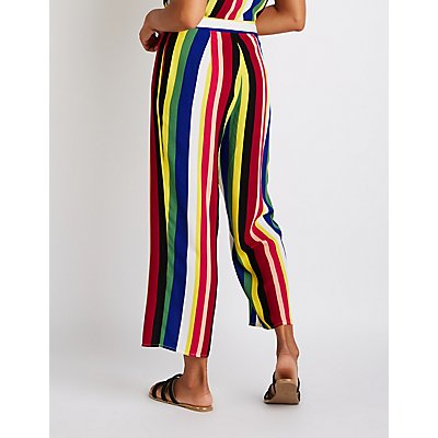 Rainbow Striped Culotte Pants