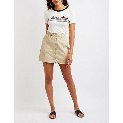 Refuge Button-Up Denim Skirt
