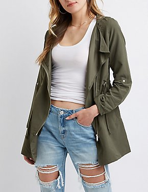 Brushed Hooded Anorak Jacket