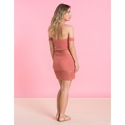 Macrame Off The Shoulder Bodycon Dress