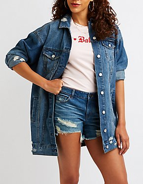 Refuge Destroyed Longline Denim Jacket