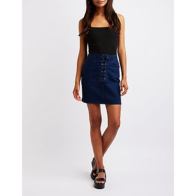 Refuge Lace Up Denim Skirt