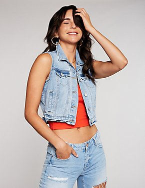 Refuge Destroyed Crop Denim Vest