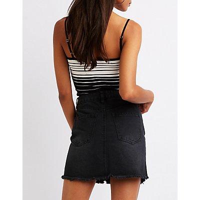 Refuge Destroyed Zip Up Skirt
