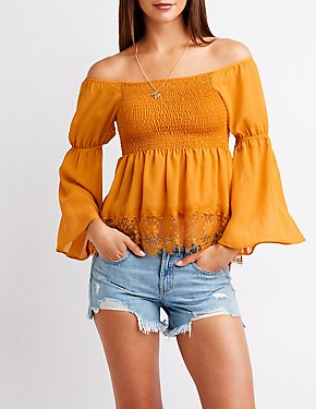 Smocked Off The Shoulder Lace Top