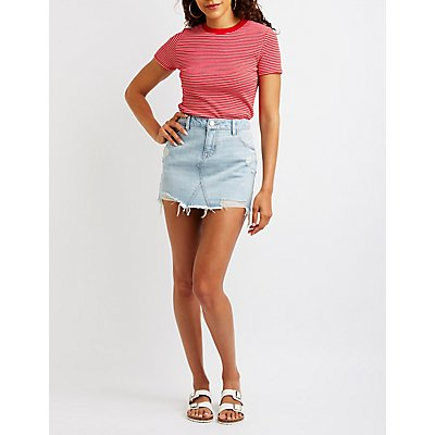 Refuge Distressed Denim Mini Skirt