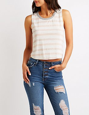 Striped High Low Tank Top