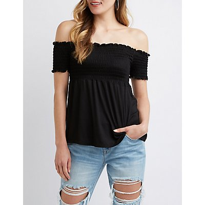 Smocked Off The Shoulder Babydoll Top