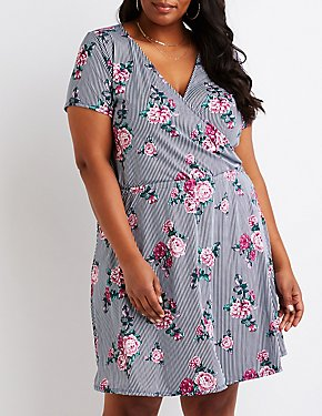 Plus Size Floral Striped Wrap Dress