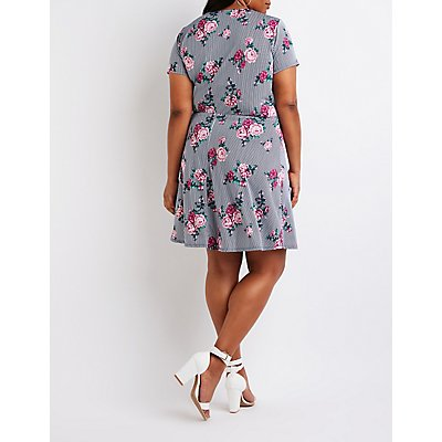 Plus Size Floral Striped Wrap Dress