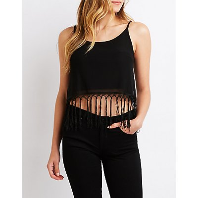 Fringe Trim Tank Top