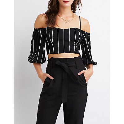 Striped Cold Shoulder Crop Top