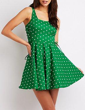 Polka Dot Lace-Up Skater Dress