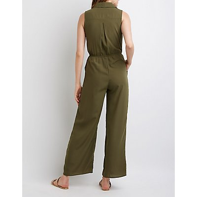 Button Up Utility Jumpsuit
