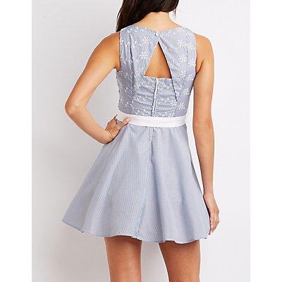 Floral & Striped Belted Skater Dress