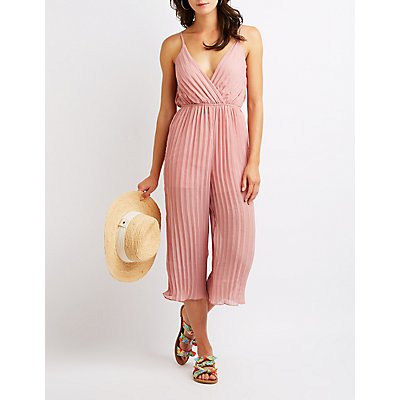 Pleated Open Back Wrap Jumpsuit