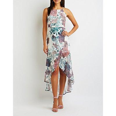 Floral Crochet Hi Low Maxi Dress