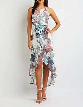 Floral Crochet Wrap Maxi Dress