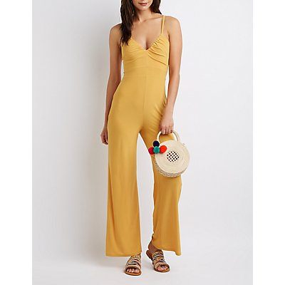 Strappy Ruched Wide-Leg Jumpsuit