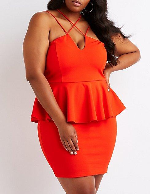 Plus Size Peplum Bodycon Dress | Charlotte Russe