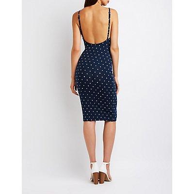 Polka Dot Open Back Bodycon Dress