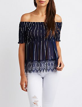 Striped Lace Off The Shoulder Top