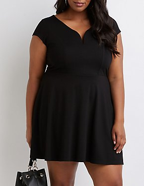 Plus Size V-Notched Skater Dress