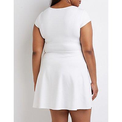 Plus Size V-Notched Skater Dress
