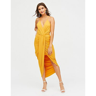 Asymmetrical Wrap Maxi Dress | Tuggl